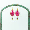 Oval Faceted Ruby Earrings in Gold