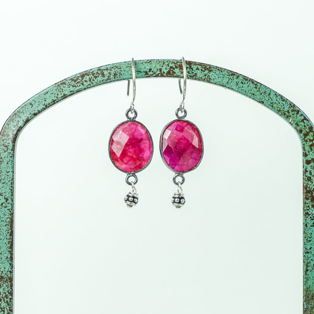 Oval Faceted Ruby Earrings in Silver