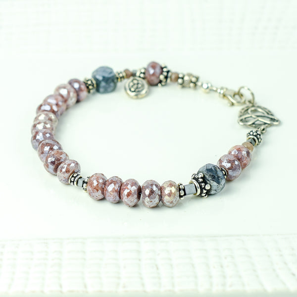 Pink Silverite and Grey Moonstone Bracelet