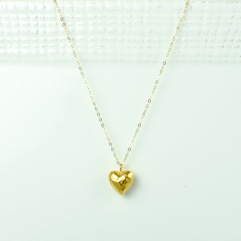 Rounded Hammered Heart on Gold Chain