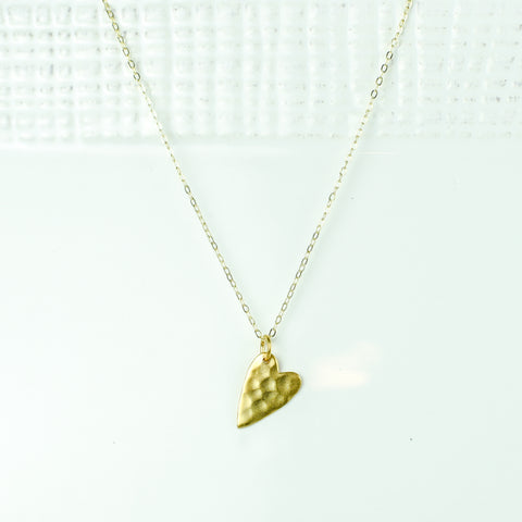 Flat Hammered Heart on Gold Chain