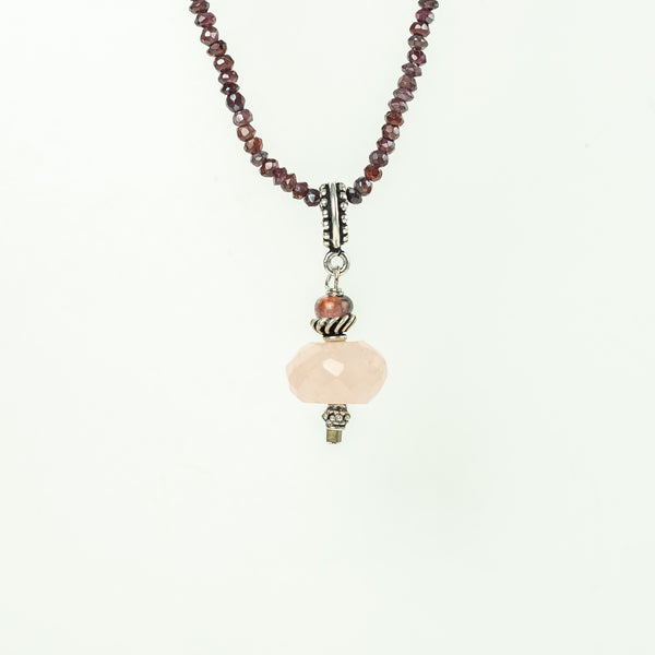 Rose Quartz Pendant with Tourmaline Detail