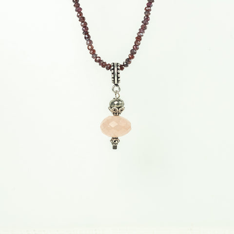 Rose Quartz Pendant with Pyrite Detail