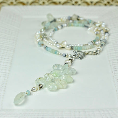 Aquamarine, Peruvian Opal and Pearl Waterfall Necklace