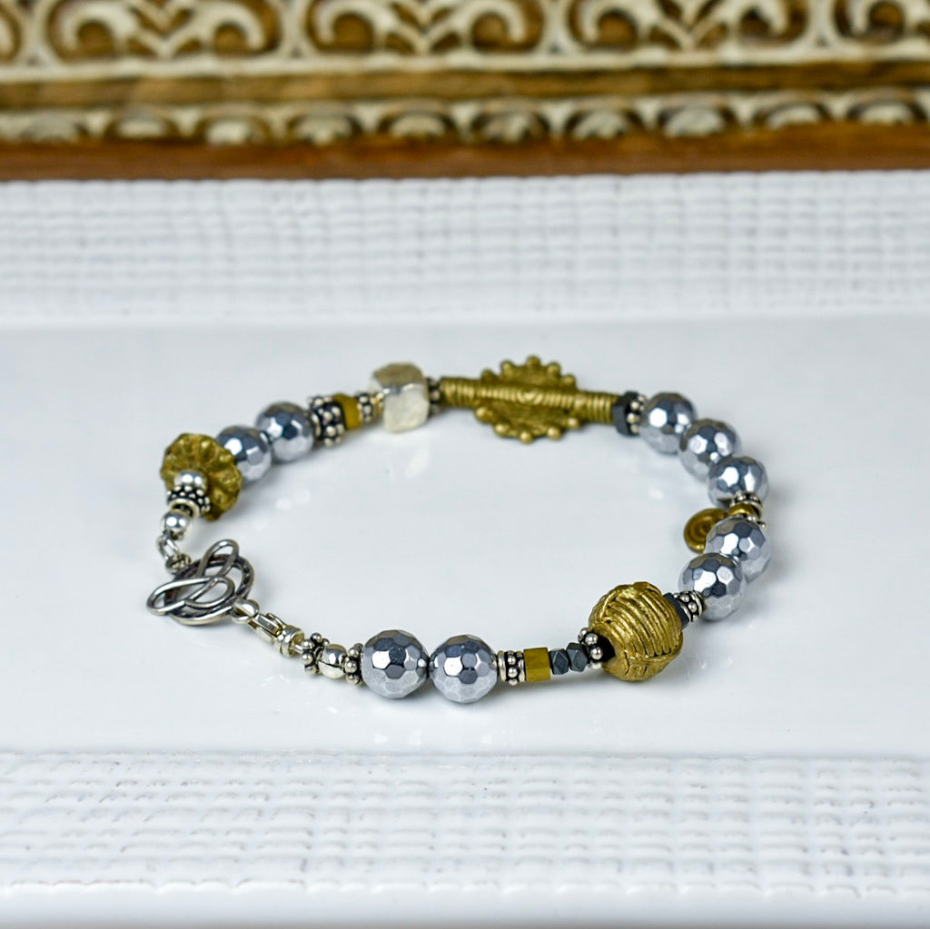Silver Pyrite Bracelet with Brass Details