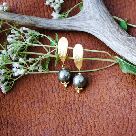 Gold & Pyrite Clip-On Earrings