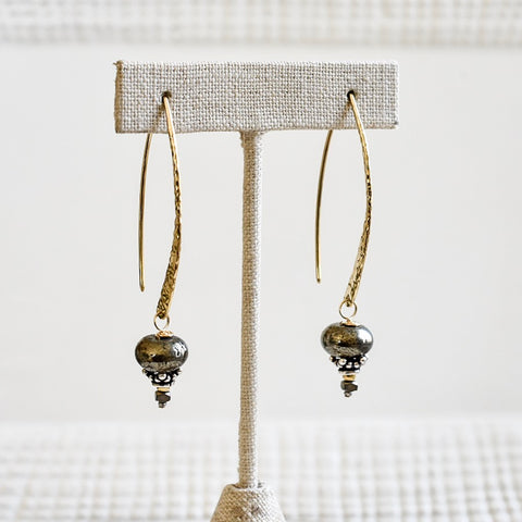 Pyrite on Hammered Gold Tops