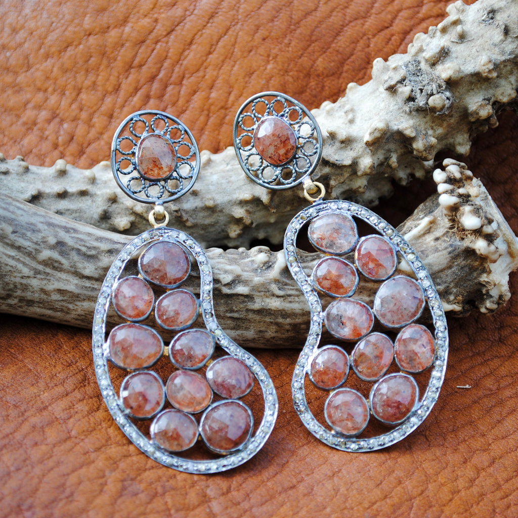 Sunstone with Pave Diamonds
