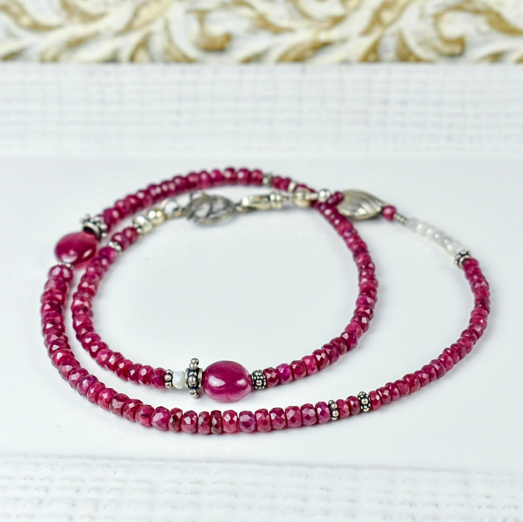 Ruby Choker with Heart Detail