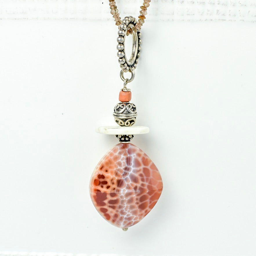 Fire Agate with Conch Shell