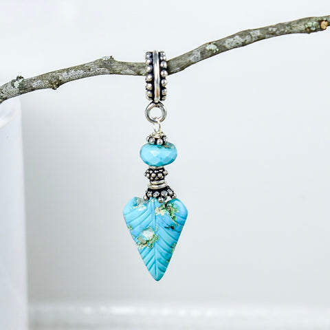 Carved Turquoise Feather Pendant
