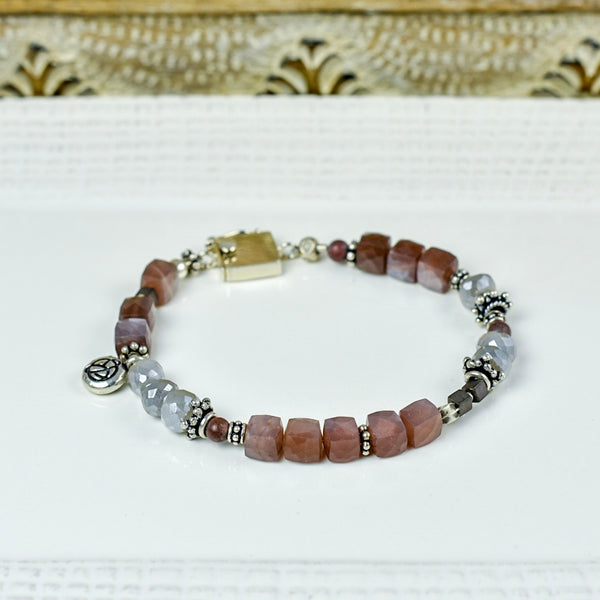 Blush and Gray Moonstone Bracelet