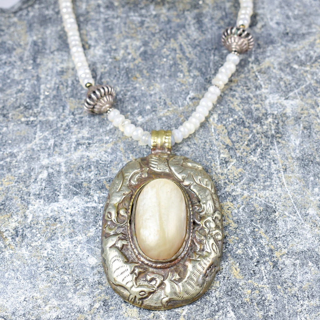 Tibetan Pendant with Moonstone