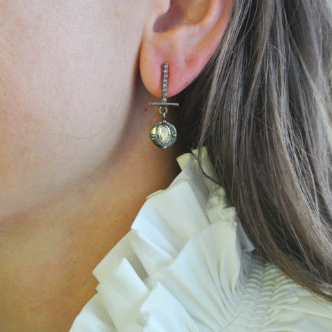 Urban Sliced Diamond With Pave Earrings