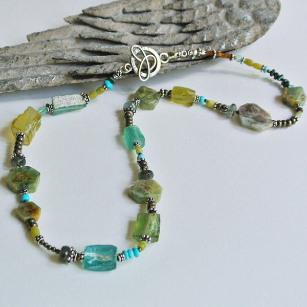 Ancient Roman Glass, Pyrite and Turquoise