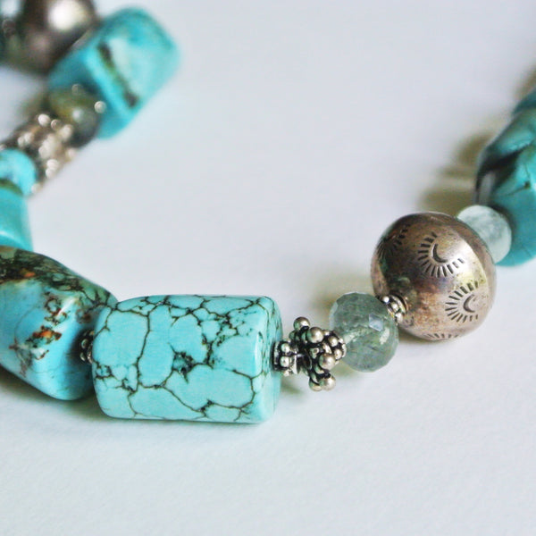 Turquoise Barrel and Silver Necklace