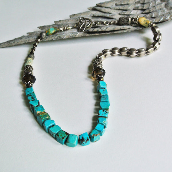 Turquoise Block Necklace