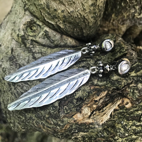 Silver and Diamond Feather Earrings