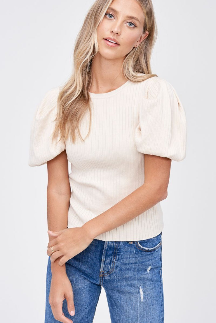 En Saison | Ribbed Puff Sleeve Knit