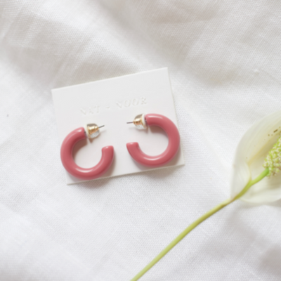 Nat + Noor | Lyra Hoops in Pink