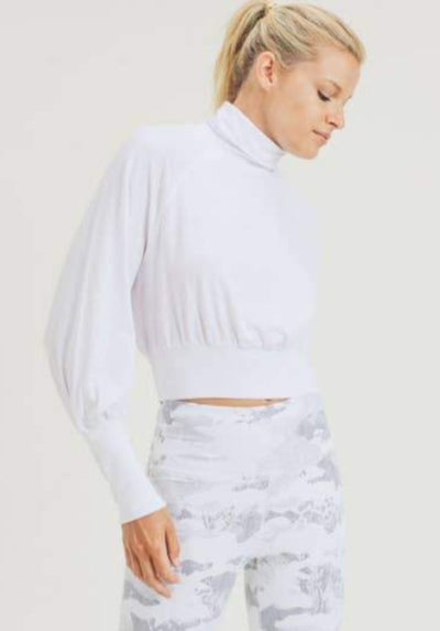 Mono B | Cropped Raglan Sleeve Turtleneck | White