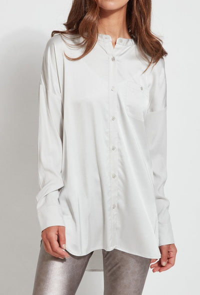 Lyssè | Eco Satin Shirt | Pearl Gray