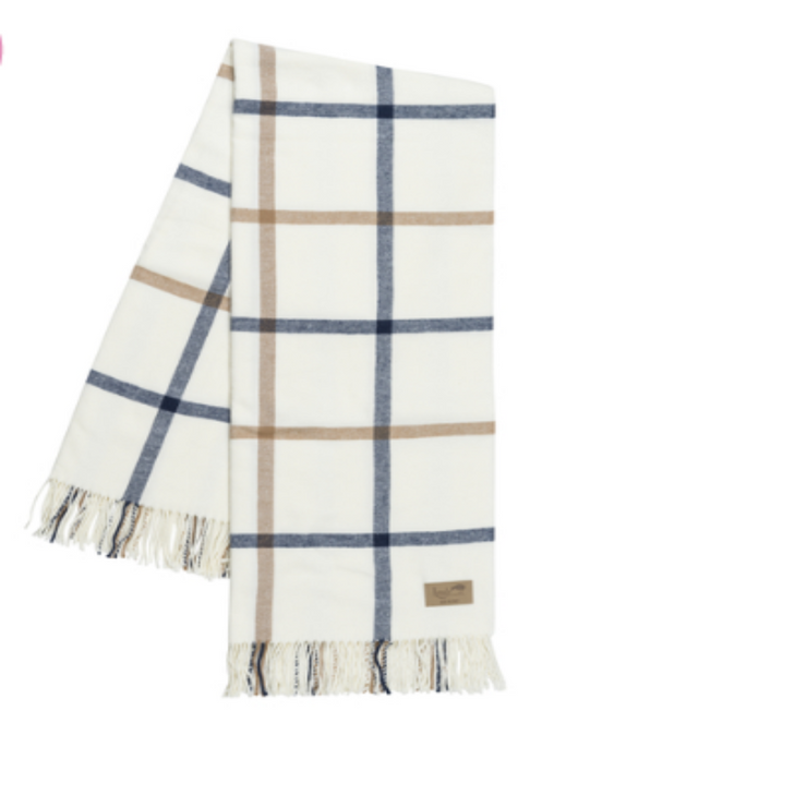 Lands Downunder | Tattersall Plaid Throw - Navy & Caramel