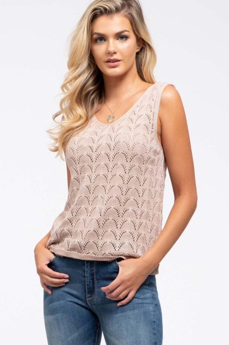 Half & Half | Open Knit Tank | Tan