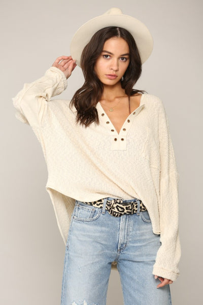 Long Sleeve Eyelet Detail Knit Top