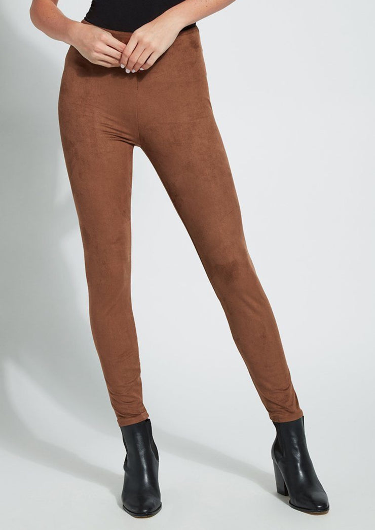 Lyssè| Hi Waist Suede Legging | Danish Brown