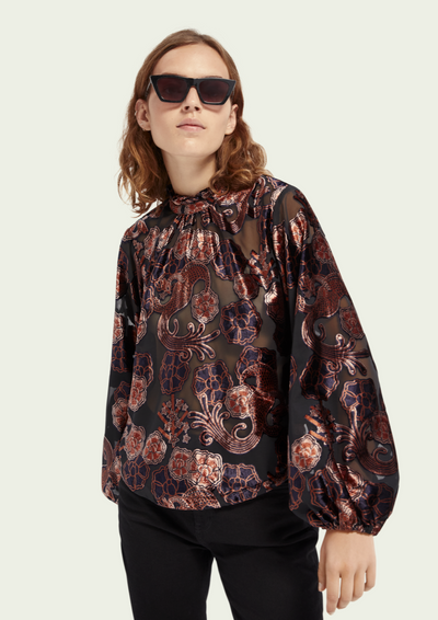 Scotch & Soda | Sheer Velvet Print Top