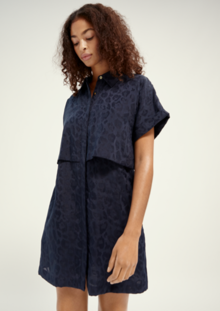 Scotch & Soda | Animal Jacquard Shirt Dress
