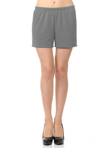 bluensquare Women Knit Shorts Summer Spa Pajama Casual Lounge- Heather Gray