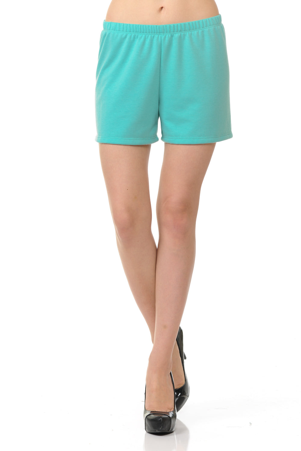 bluensquare Women Knit Shorts Summer Spa Pajama Casual Lounge- Aqua Mint