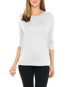 Women T-Shirts Super Soft Rayon Jersey Knit Top  3/4 Dolman Sleeves- 14 Color Variety -White