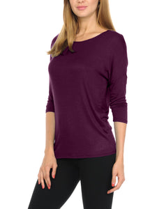 Women T-Shirts Super Soft Rayon Jersey Knit Top  3/4 Dolman Sleeves- 14 Color Variety -Eggplant