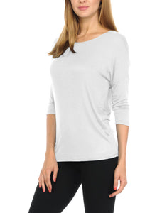 Women T-Shirts Super Soft Rayon Jersey Knit Top  3/4 Dolman Sleeves- 14 Color Variety 5 Sizes(S-XXL)