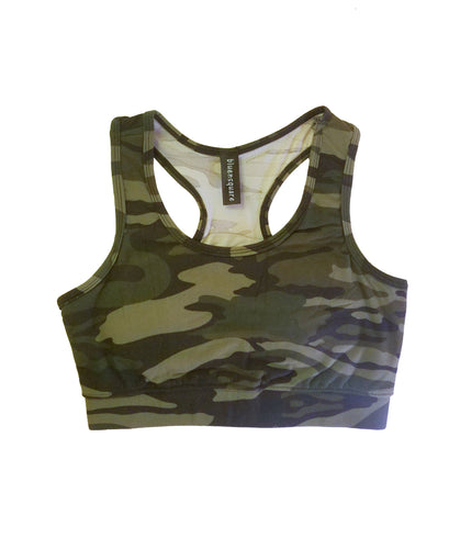 Bluensquare Women's  Sports Bra Racerback Camouflage/ Removable Pad Yoga Gym Fitness Crop Top