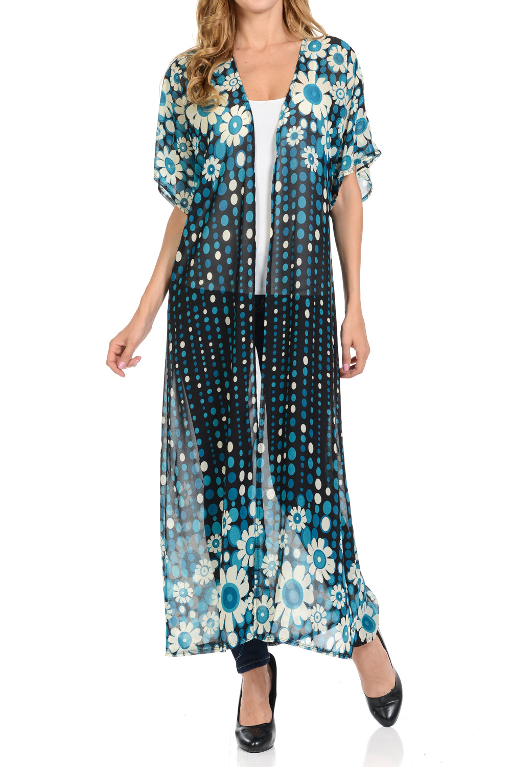 b789bb0a15 Long maxi Cardigan See through beach cover up Trendy Fashion item Four  seasons BlackTeal Color ...