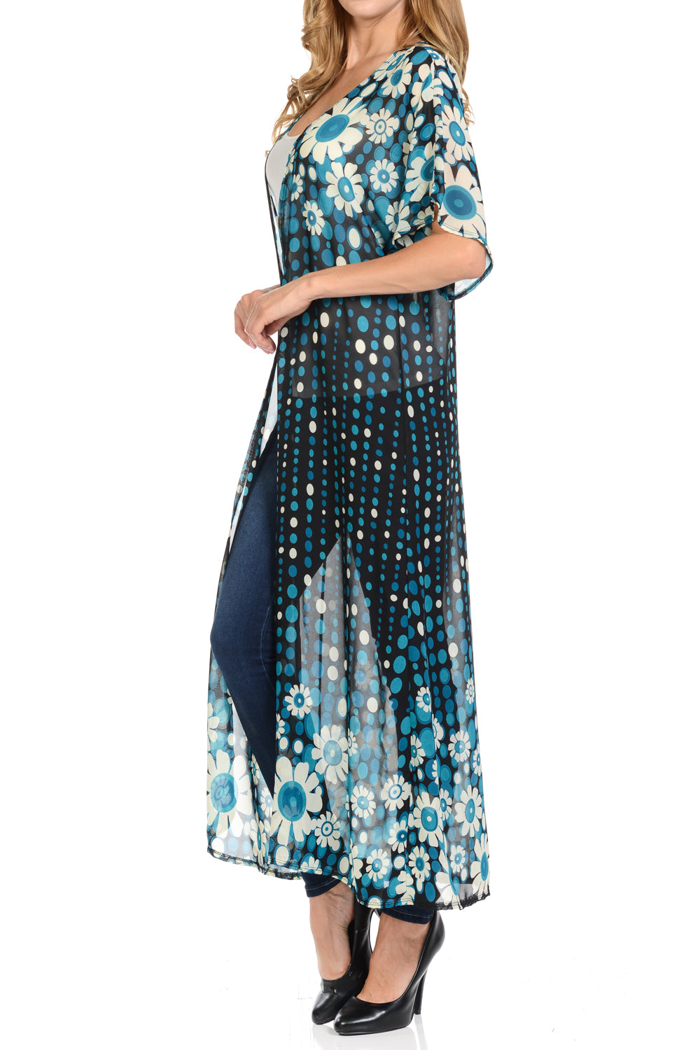 c835d4efb4 ... Long maxi Cardigan See through beach cover up Trendy Fashion item Four  seasons BlackTeal Color