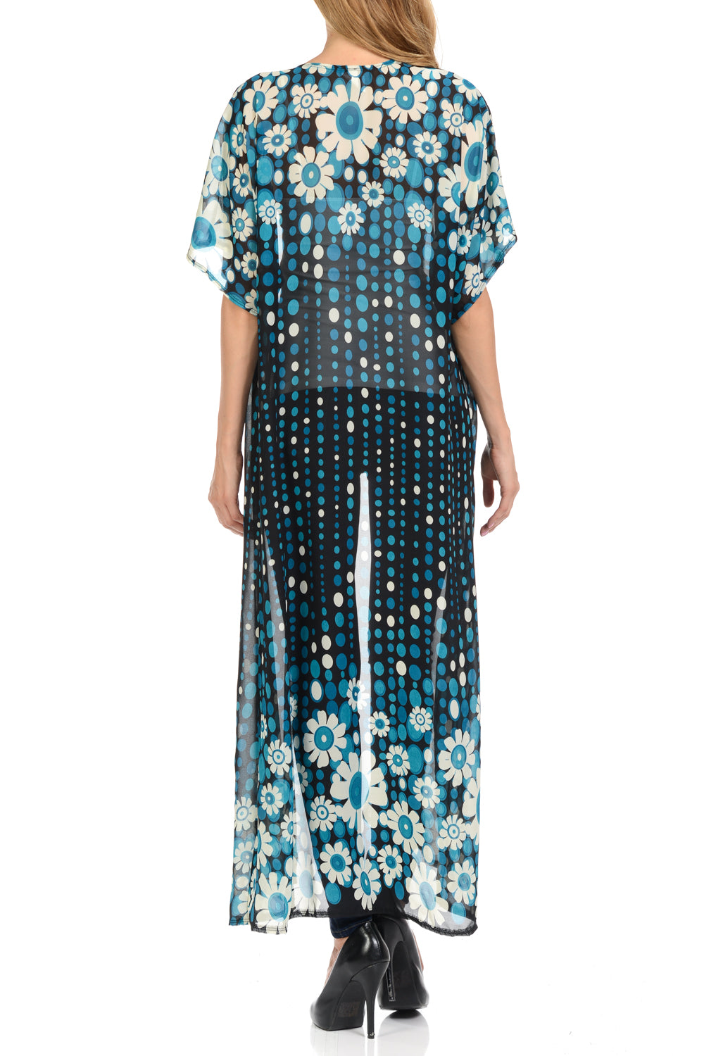 311882cbae ... Long maxi Cardigan See through beach cover up Trendy Fashion item Four  seasons BlackTeal Color ...