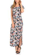 Maxi dress with two side pockets Round Neck  Dolman Various Printed Long Dress for Women