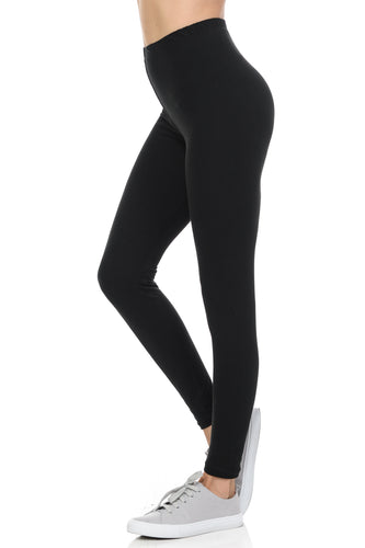 bluensquare LEGGINGS for Juniors High Waist Premium Soft Brushed 4 way Stretched-Black