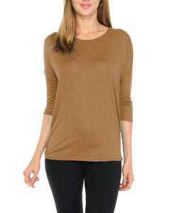 Women T-Shirts Super Soft Rayon Jersey Knit Top  3/4 Dolman Sleeves- 14 Color Variety -Sea Sand