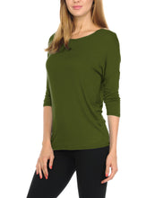 Women T-Shirts Super Soft Rayon Jersey Knit Top  3/4 Dolman Sleeves- 14 Color Variety -Olive