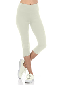 bluensquare LEGGINGS for Juniors High Waist Premium Soft Stretched Regular One Size-Ivory Capri