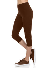 bluensquare Women's Plus Size Capri Leggings Premium Soft and Stretched Cropped legging- Brown
