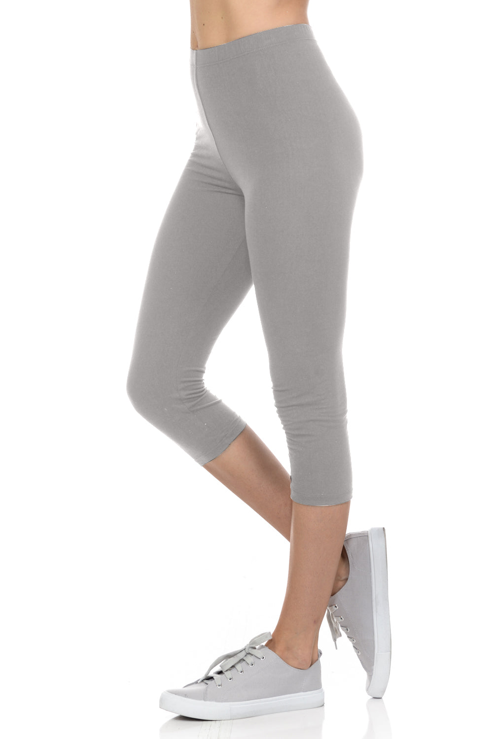 bluensquare Women's Capri Leggings Premium Soft and Stretched Cropped legging- Gray