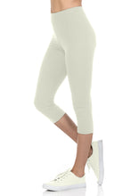 bluensquare Women's Capri Leggings Premium Soft and Stretched Cropped legging- Ivory