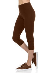 bluensquare LEGGINGS for Juniors High Waist Premium Soft Stretched Regular One Size-Brown Capri